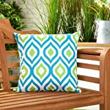 Shopisfy Pack of 2 Outdoor Water Resistant Filled 18' Scatter Cushion for Garden Furniture, Geometric Aqua/Lime Design