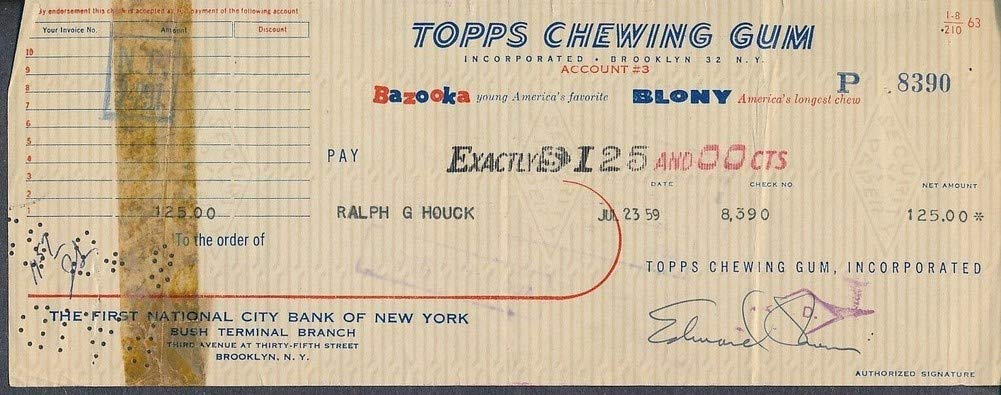 Topps Chewing Gum Processed Check To Ralph Houk Autographed Edward Shorin *8390