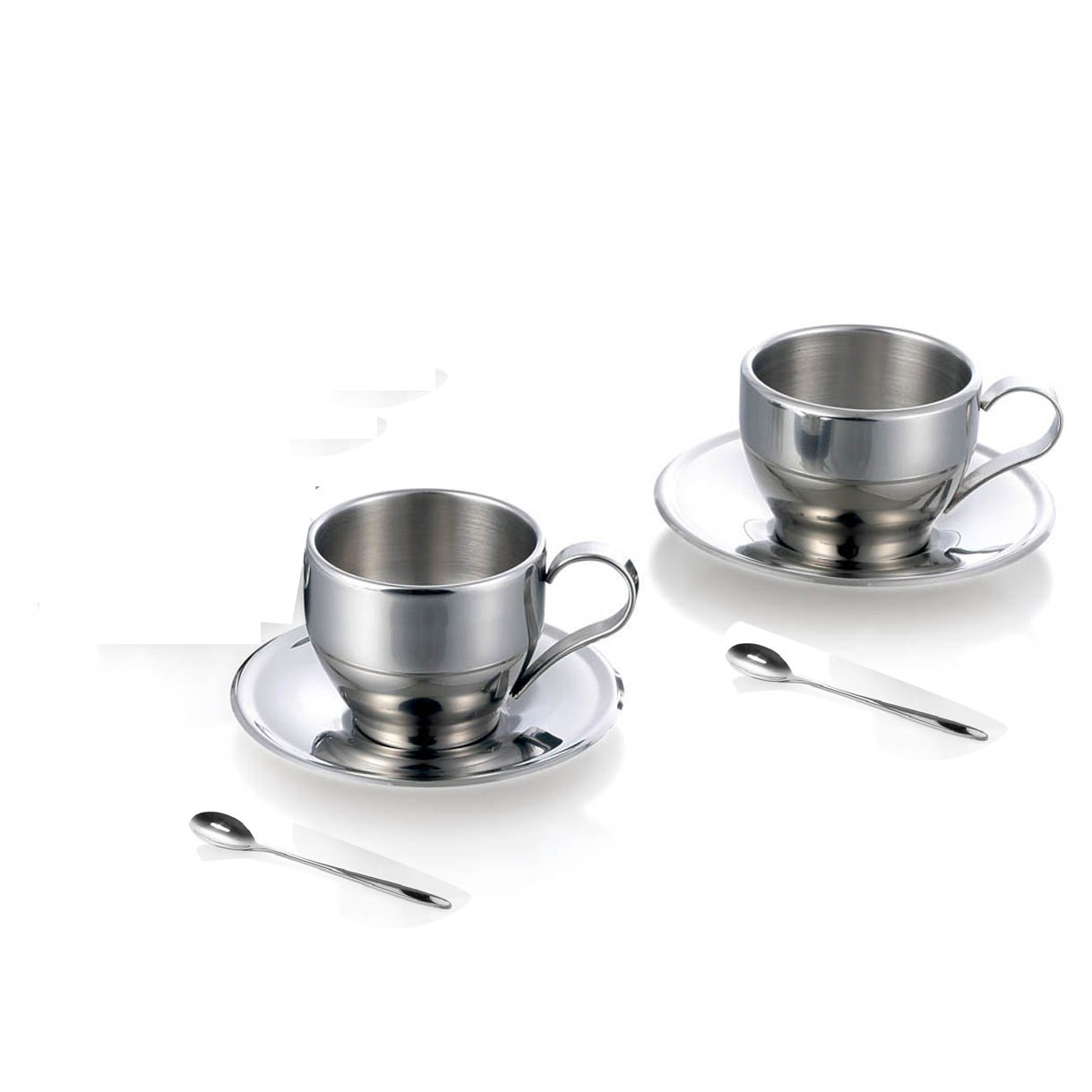 Jasni Stainless Steel Coffee Cup Coffee Mugs Espresso Cups and Great Cappuccino Cups with Spoon and Saucer Gift Idea for Coffee and Tea Lovers (2 packs)