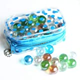 the GreatTony Marbles for Kids, Glass Marbles, Planetary Marbles, 16mm 50 Clear Marbles with Polka Dot Bag with Zipps,Best Gift for Kids