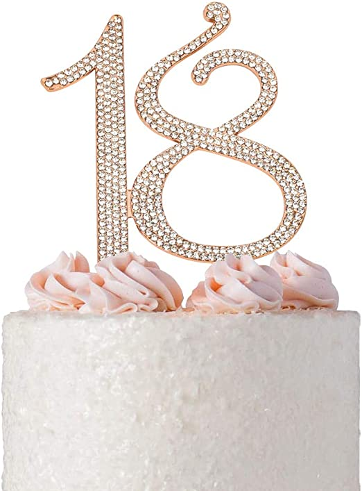 Peachy Amazon Com Premium Metal Number 18 Birthday Rose Gold Rhinestone Personalised Birthday Cards Veneteletsinfo