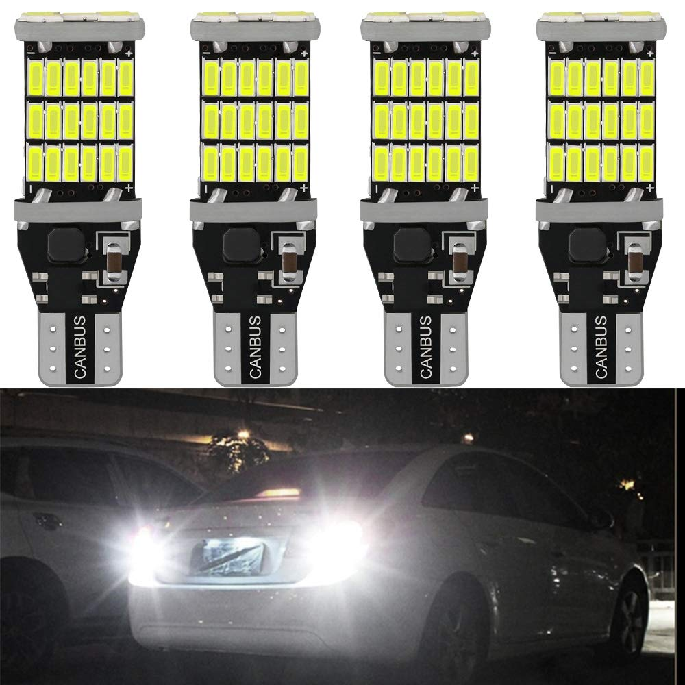 ( Pack of 4 ) 921 912 T10 T15 Xenon White 1100 lumens 12V-24V Extremely Bright Non-Polarity Canbus Error Free AK-4014 45pcs Chipsets LED Bulbs For Backup Reverse Parking Lights 6000K