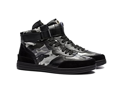 be33a4bf89ad OPP Men s Fashion Designer Shoes Leather High-top Sneakers with Camouflage  Pattern and Velcro Design Black 7.5 D(M) US  Amazon.co.uk  Shoes   Bags