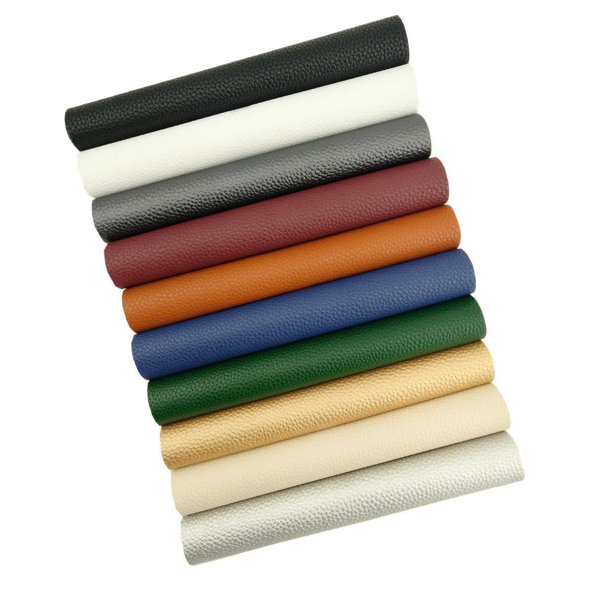 Litchi Fabric Sheets【10 Pcs】Solid Color PU Faux Leather 【8'' x 12'' 】A4 Size Perfect for Making Creative Hand Bags/Bows/Earrings/Wallets Craft DIY Sewing (Assorted Colors)