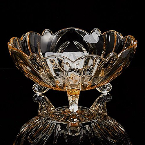 - SISHUINIANHUA Crystal-Fruit Tray/Luxurious,Glass,Modern High-end,Dining Table-Dried Fruit Plate, amber tripod fruit bowl
