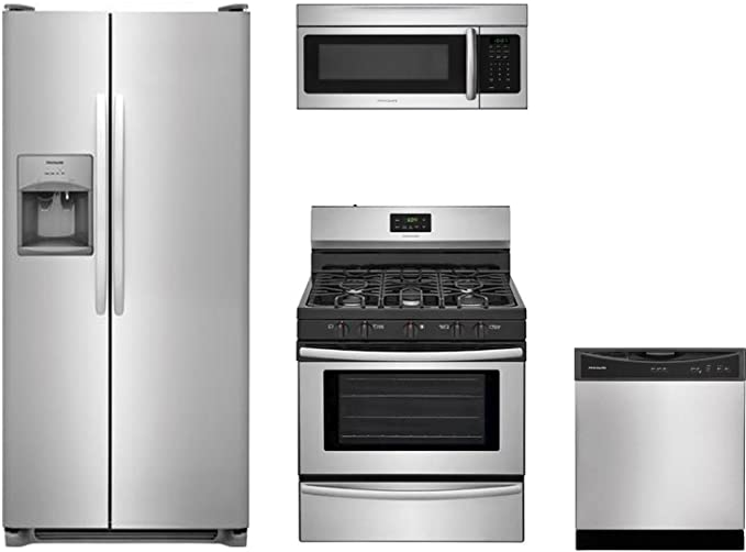 Frigidaire 4 Piece Kit Appliance Package With Ffss2615ts 36 Side By Side Fridge Ffgf3052ts 30 Gas Range Ffmv1645ts 30 Over The Range Microwave