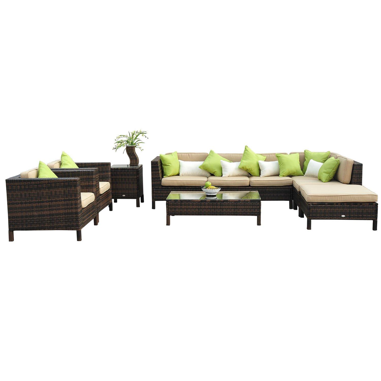 Outsunny 37-tlg. Luxus Polyrattan Gartenmöbel-Set Lounge Garnitur ...