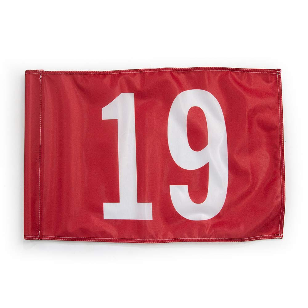 Vispronet 20in x 14in Number 19 Golf Flag - Fabric is Lightweight, Durable, and Flame Retardant - Red Flag with White Numbers by Vispronet