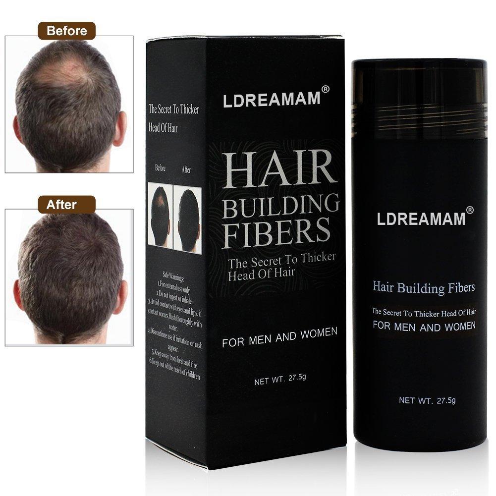 Hair Building Fibers, Hair Loss Concealer, Fibre Construcción de pelo Fibras de Cabello Naturales, Cabello fino y Escaso para Hombres y Mujeres-Efecto Inmediato LDREAMAM