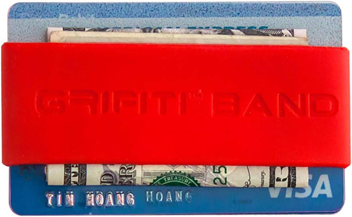 Grifitiバンドポケット財布スーパースリムプロファイルカラフルシリコンImprovedブロッコリーのバンドのカード、ライセンス、現金 レッド
