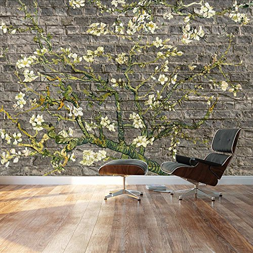 Almond Blossom by Vincent Van Gogh Floral painting on a gray brick textured background Wall Mural