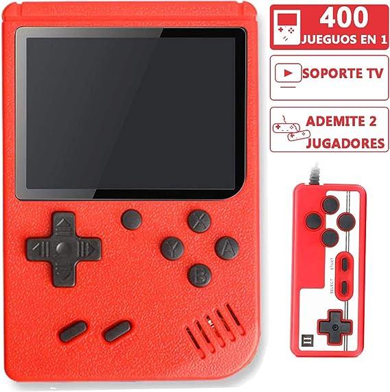 Lvozize Consola Retro, Consola de Juegos Portátil con 400 Juegos Clásicos Pantalla 3 Pulgadas Soporte TV 2 Jugadores Regalo de Cumpleaños Navidad para Niños Amigos Adultos-Rojo: Amazon.es: Electrónica
