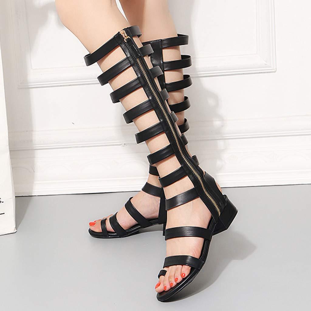 Femme /Ét/é Bottes Plate Chaussures /Él/égant Respirant Gladiateur Slip-on Chaussures Mode Sandales Plates Engrener Haute Bottes