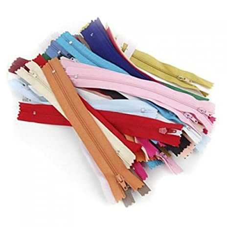 Sungpunet - Cremalleras de Nailon para Costura y Manualidades, 50 Unidades, 20 cm, Color al Azar
