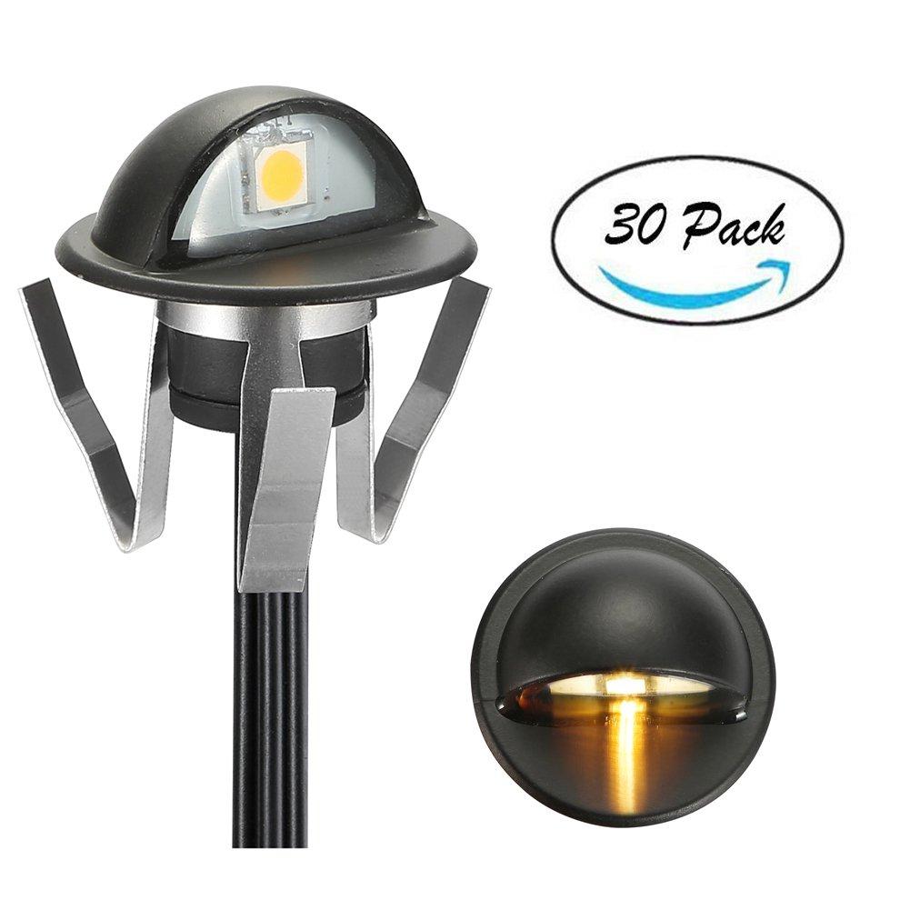 FVTLED Pack of 30 Warm White Low Voltage LED Deck lights kit Φ1.38'' Outdoor Garden Yard Decoration Lamp Recessed Landscape Pathway Step Stair Warm White LED Lighting, Black