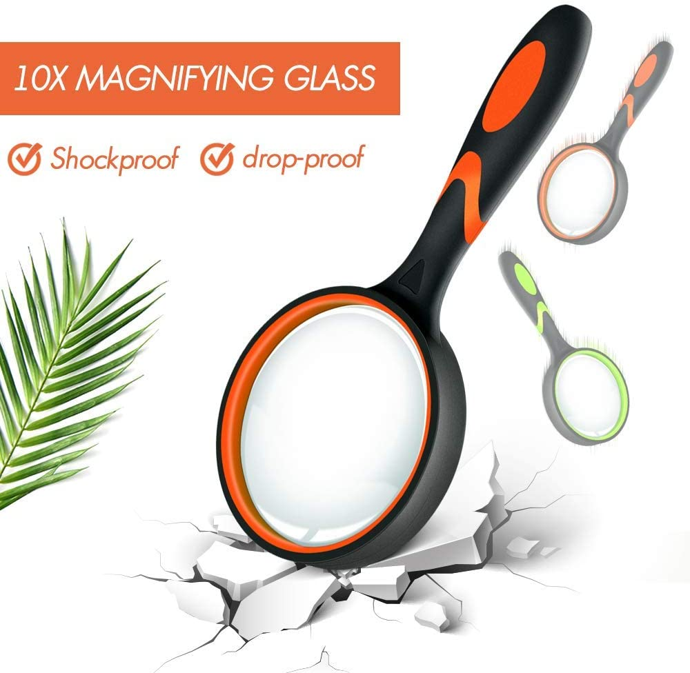 Felt Bag Included 75MM Large Magnifying Glasses for Close Work Science and Hobby Observation Insect Non-Slip Handheld Magnified Glass 2 Pack 10X Magnifier Magnifying Glass for Kids Reading