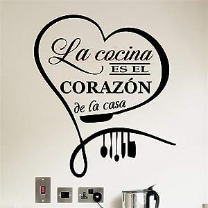 Wall Decal Sticker Mural Vinyl Arts and Sayings Mural Art Sticker Citation Cuisine La Cocina ES El Corazon De La Casa Kitchen Home Decor Dining Hall Decor