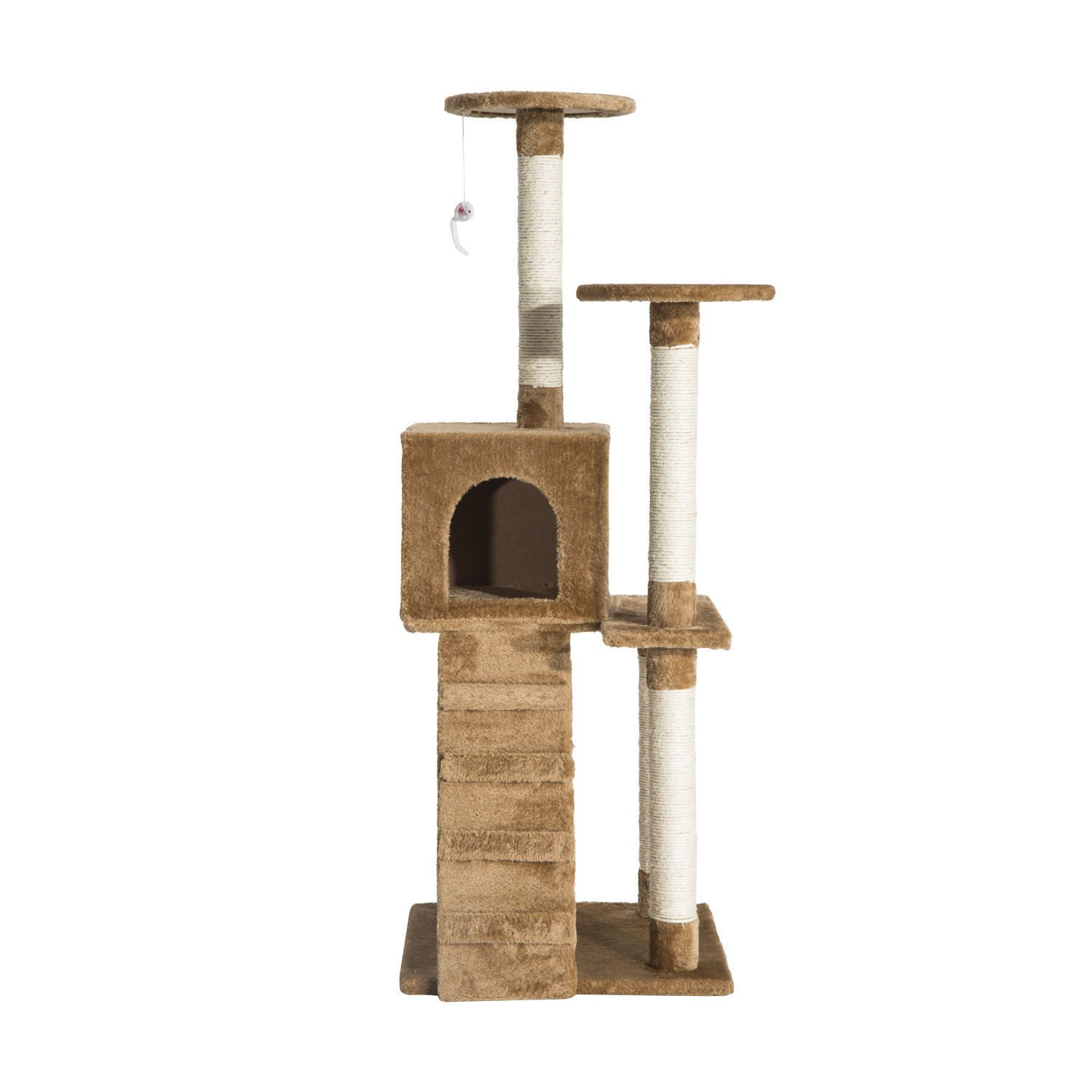 PawHut 52'' Multi Platform Sisal Cat Scratcher Tree Activity Center Playground