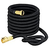 Garden Hose 50 Feet Expandable Water Hose with 8 Pattern Spray Nozzle and High Pressure Light Expanding Outdoor Hose (50 Feet, Black)