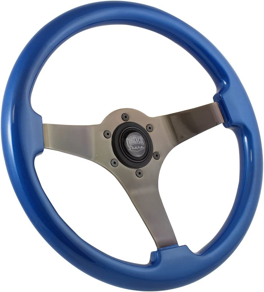 Brushed Black 350mm Steering Wheel with Blue Grip and Forever Sharp Horn Button
