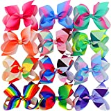 #4: Myamy 6 inches Hair Bows For Girls Large Big Grosgrain Ribbon Boutique Rainbows Hair Bow Clips For Kids Toddlers Teens Children Gifts Set Of 12