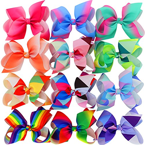 Myamy 6 inches Hair Bows For Girls Large Big Grosgrain Ribbon Boutique Rainbows Hair Bow Clips For Kids Toddlers Teens Children Gifts Set Of 12 -