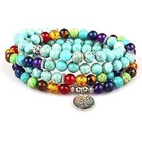 Celway Mala Bead Prayer Bracelet 108 Gemstone Turquoise Buddhist Yoga Jewelry Necklace Tree of Life 7 Chakra Unisex…