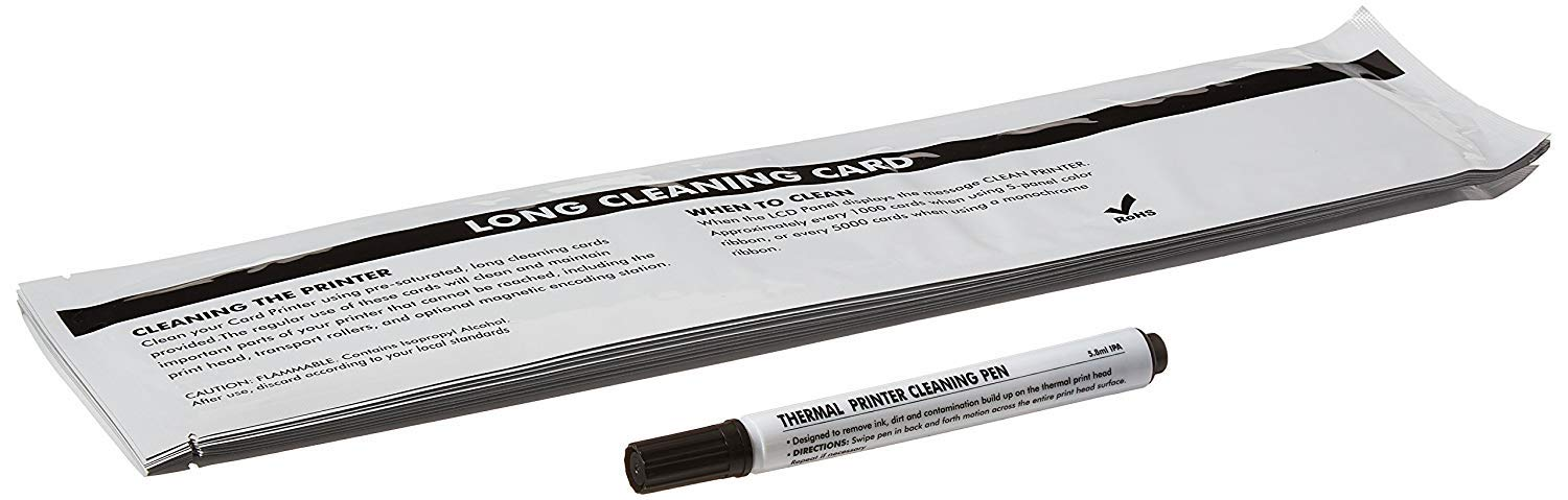 Enduro/Duo, Dio Pro/Duo, Enduro3e Le, Mc200/Duo, Rio Pro Le, Rio Pro 360 ID Card Printer Cleaning Kit, Pack of 10 Long T Cards and 1 Cleaning Pen CK-3633-0053 by cleansky (Image #1)