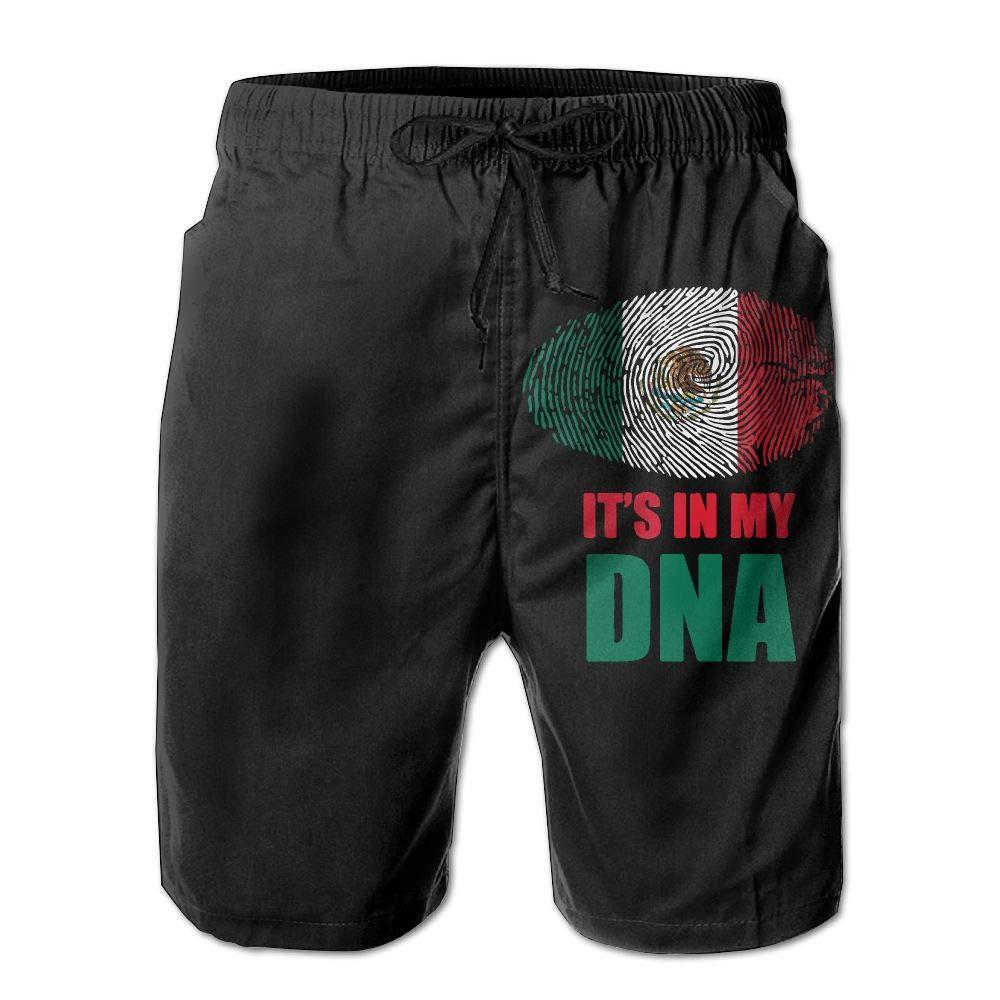 UHT28DG Mexico Its in My DNA Mens Printing Beach Board Shorts Surf Yoga Beachwear Pockets