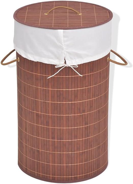 ROMELAREU Cesto de la Ropa de bambú Redondo marrónCasa y jardín Productos del hogar Productos para Lavado de Ropa Cestas para Ropa: Amazon.es: Hogar
