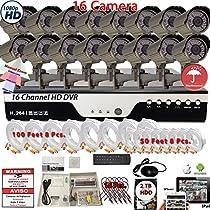 Evertech 16 Channel HD DVR w/ 16 pcs 4in1 AHD TVI CVI ANALOG 960P Varifocal Manual Zoom Bullet HD CCTV Home Security Camera System Set w/ 1TB Hard Drive