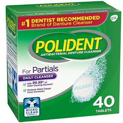 Polident Partials, Antibacterial Denture Cleanser 40 ea (Pack of 2)