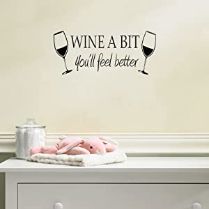 MAFENT Wine a Bit You'll Feel Better Quote Letter Wall Sticker Decal Home Arts Dinning Kitchen Lounge Decor Wall Decoration