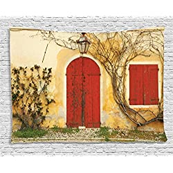 Ambesonne Rustic Tapestry Wall Hanging, Old Doorway with Blinded Door and Window to The Rural Tuscan House Italy Europe, Bedroom Living Room Dorm Decor, 80 W X 60 L Inches, Beige Red Green