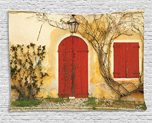 Rustic Tapestry Wall Hanging by Ambesonne, Old Doorway with Blinded Door and Window to the Rural Tuscan House Italy Europe, Bedroom Living Room Dorm Decor, 80 W X 60 L Inches, Beige Red (Tuscan Bedroom Designs)