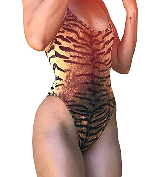 Amazon.com  Sexy Tiger Leopard Stripped Print V Neck Bodysuits Backless Spaghetti  Strap Body Shaping Jumpsuits  Clothing 3b4809f07
