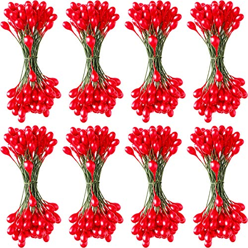 Patelai 800 Pieces Artificial Holly Berries Craft Berry Stems for Christmas Wedding Home Ornaments (Red)