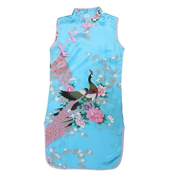 Vestido Floral Del Pavo Real Chino de Qipao Cheong Clásico Elegante Regalo Banquete Fiesta Verano para