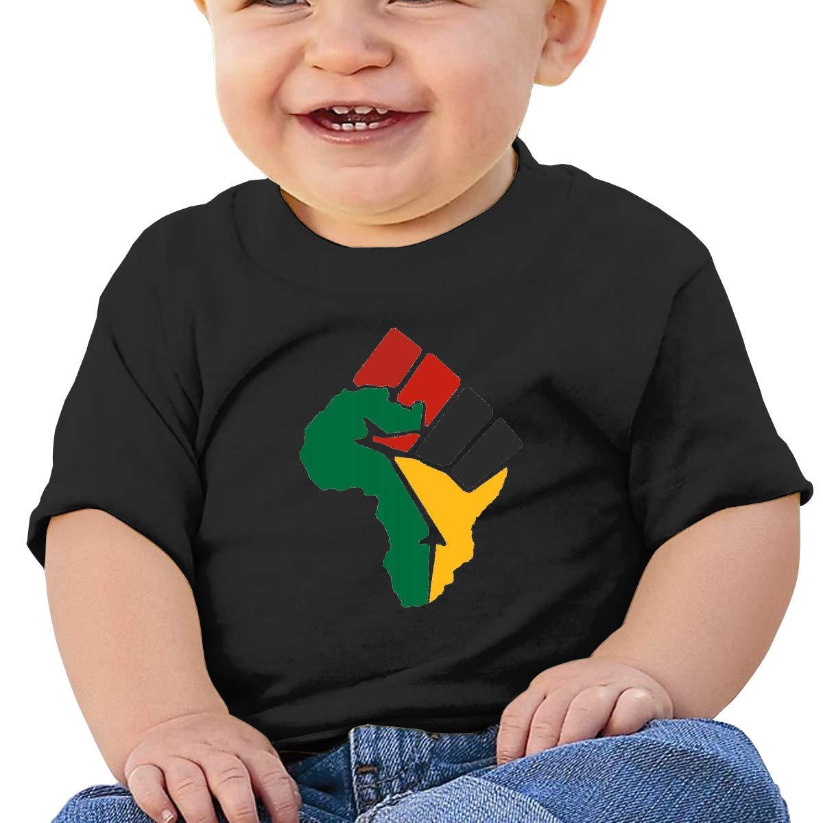 JVNSS Black Power Raised Fist Baby T-Shirt Little Baby Cotton T Shirts Crew Neck Clothes for 6M-2T Baby