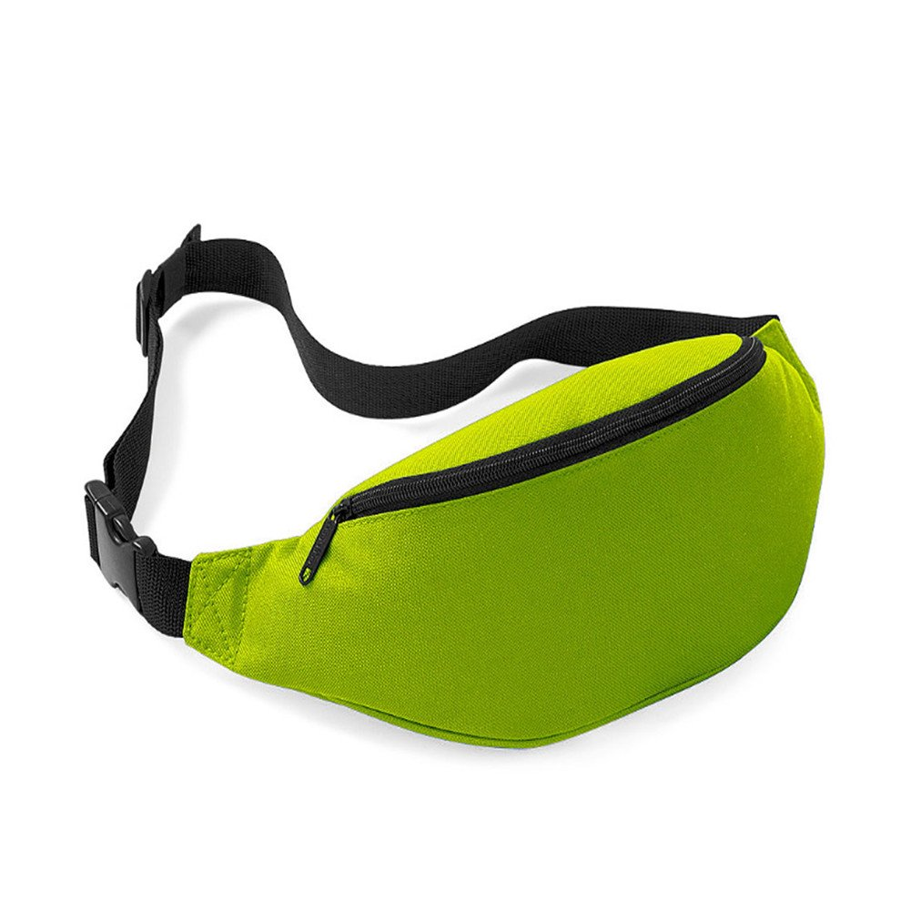 Unisex Men Women Fashion Sporty Multi-purpose 2-Zipper Waist Belt Bag Fanny Pack Adjustable Strap for Sport Hiking Traveling Passport Wallet (Green) InnoLife