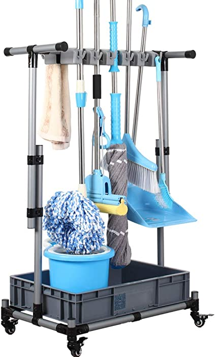 JIAHAI Broom Holder Floor Standing Movable Floor-Mounted mop Rack Cleaning Tool Storage for Schools, Hospitals, Factories, Hotels, Restaurants, Property Companies