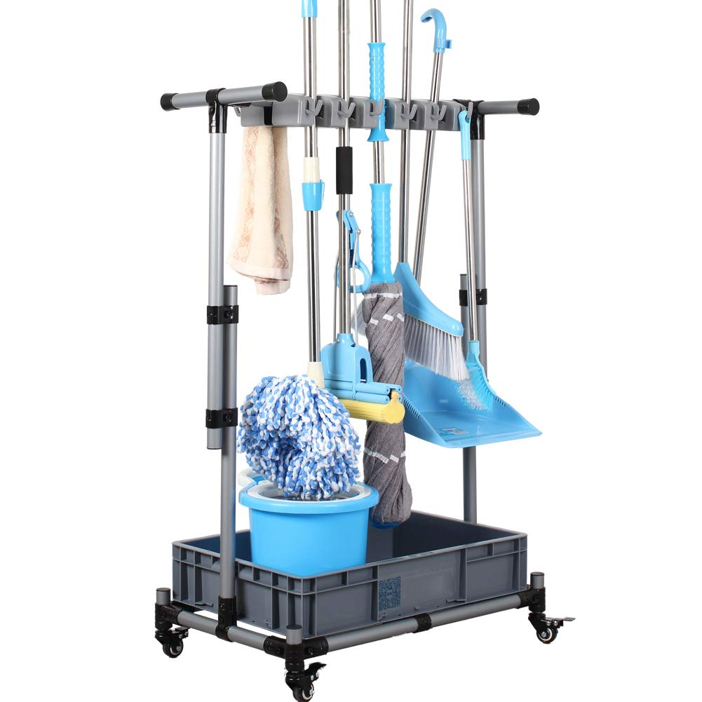 JIAHAI Broom Holder Floor Standing Movable Floor-Mounted mop Rack Cleaning Tool Storage for Schools, Hospitals, Factories, Hotels, Restaurants, Property Companies by JIAHAI