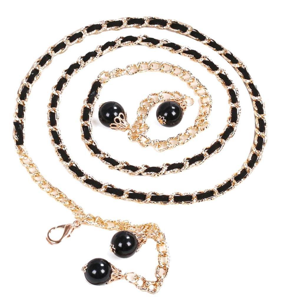 Malloom Las mujeres de moda de la señora perla cuerpo estilo cinturón cadena cadena de metal (azul)