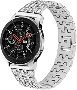 Maxjoy Compatible Galaxy Watch 46mm Bands Women, Gear S3 Classic Frontier Band Metal Replacement Strap 22mm Diamond Rhinestone Bracelet Compatible with Samsung Galaxy Watch 46mm/ Gear S3 Watch, Silver