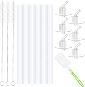 Hysagtek 16 Pcs Replacement Straws Set for Kids Thermos Funtainer 12 Ounce Bottle, 6 Pcs Replacement Straws, 6 Pcs Silicone Straw Stems, and 3 Pcs Straw Cleaning Brushes with Bottle Cleaning Brush