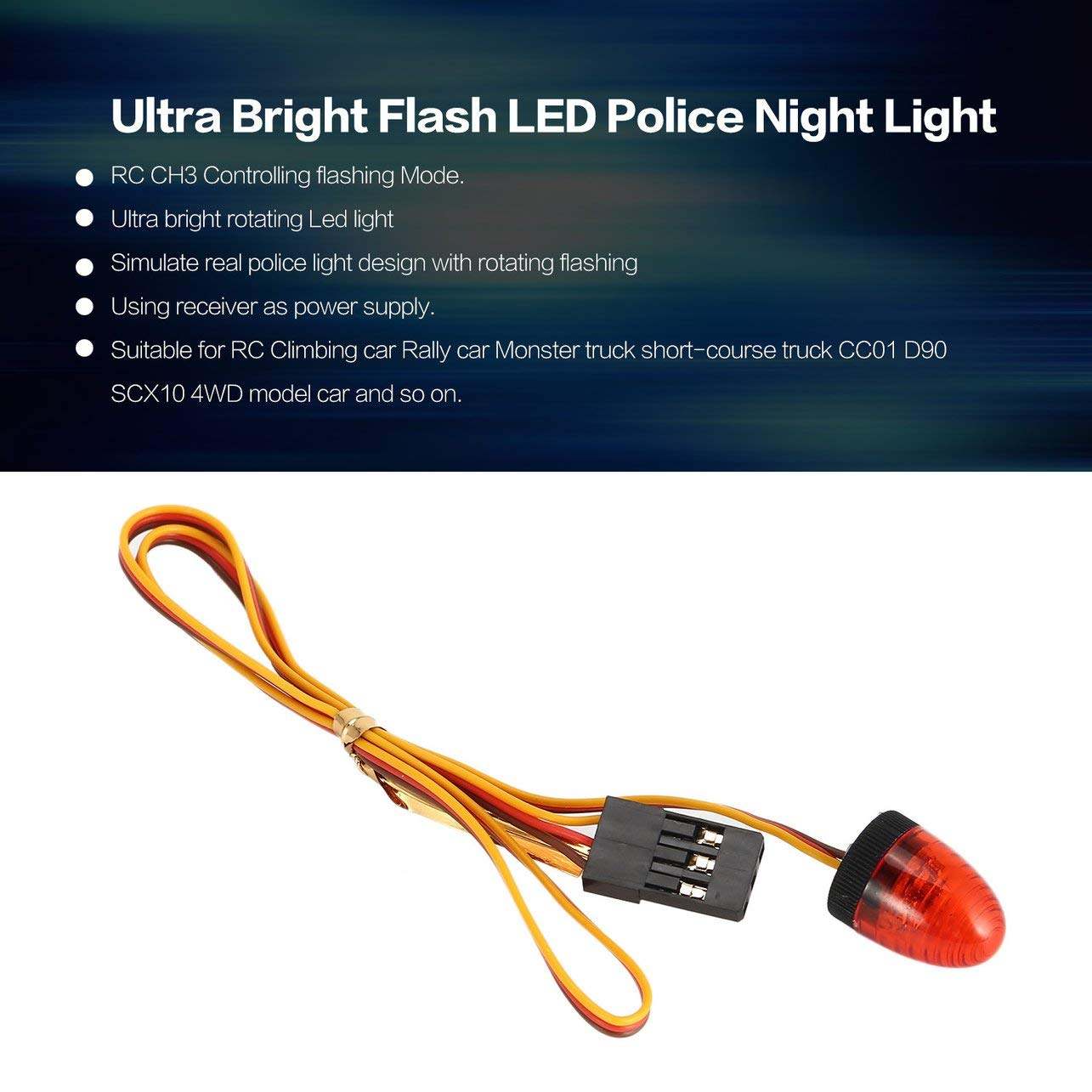 AUSTAR Ultra Bright Flash LED Police Night Light RC Car Tamiya HSP Axial, Yellow WOSOSYEYO