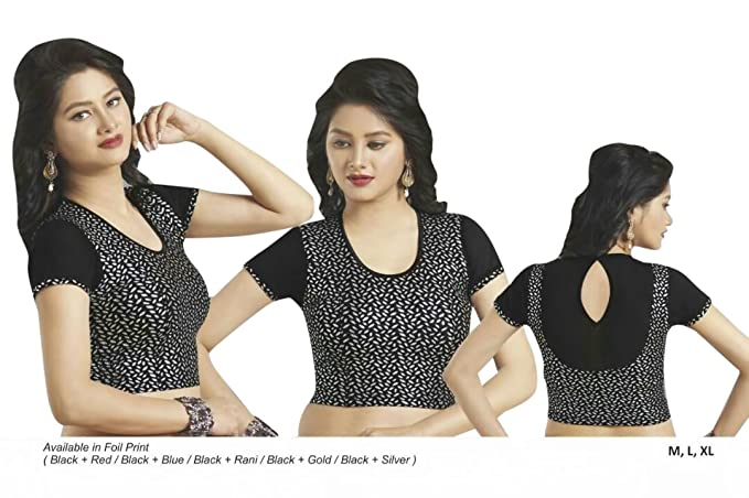 ad623ee516bf0 Image Unavailable. Image not available for. Color  Black Stretchable Lycra  Cotton Ready-made Saree Blouse ...