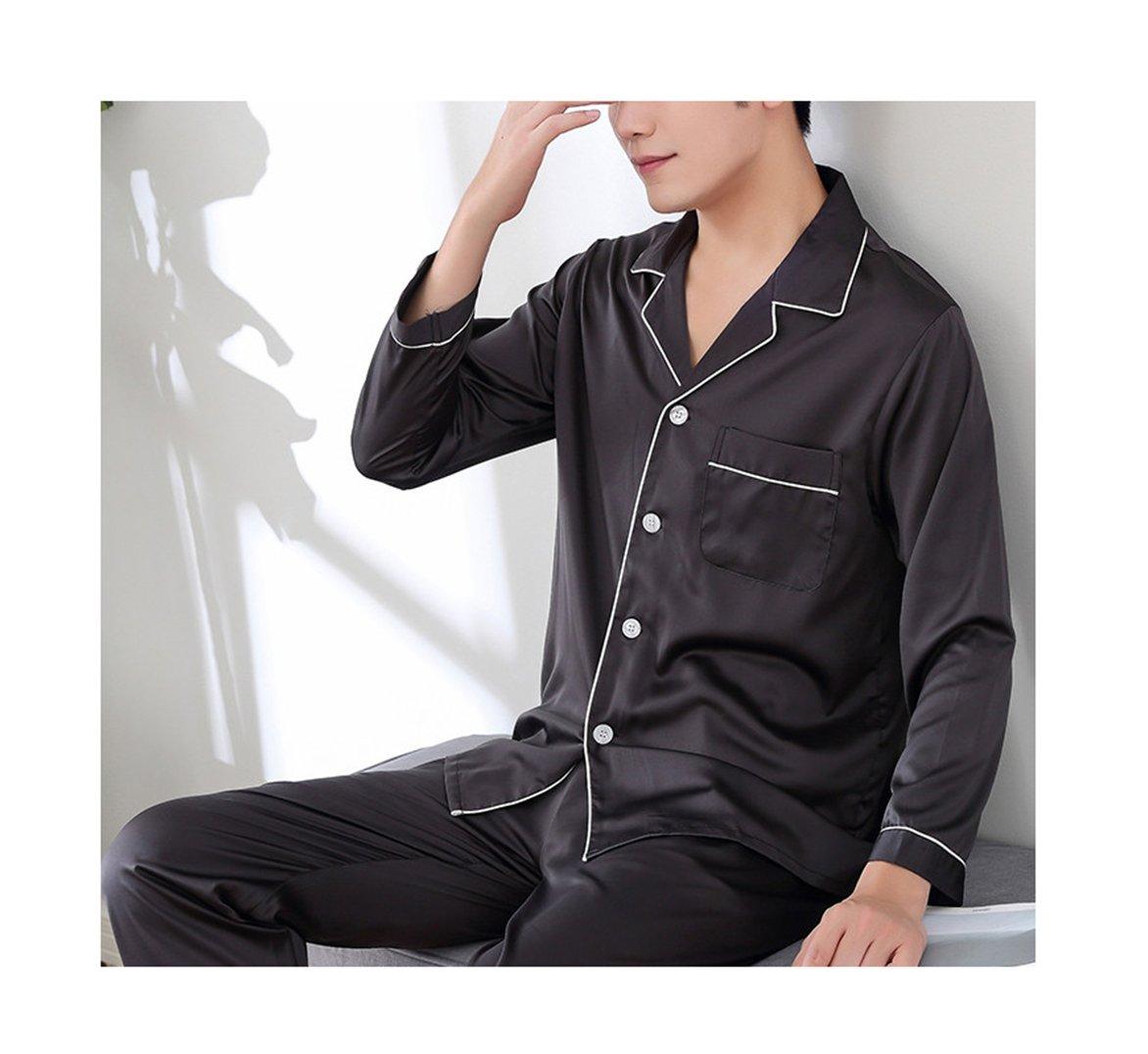 Respeedime Autumn Home Service Silk Pajamas Summer Men 's Long Sleeved Trousers Sets Sleepwear Black-Gray Size L