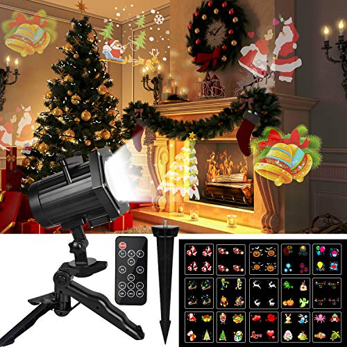 KMASHI Christmas Light, Dynamic Outdoor Christmas Projector Light 15 Switchable Pattern, RF Remote Control and Timer, Waterproof Holiday Decoration Light for Halloween Christmas Wedding Birthday Party -