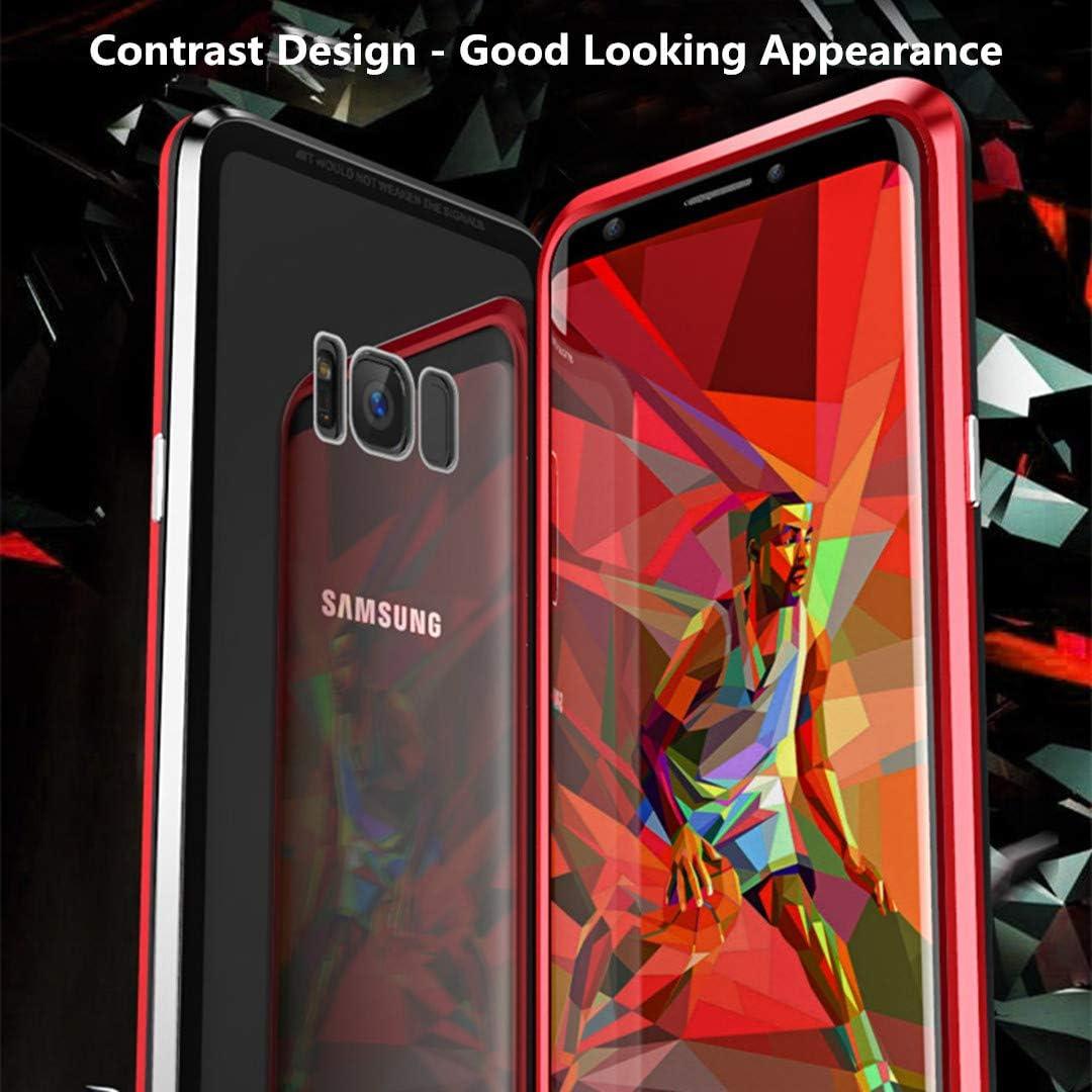 Noir JUNHENG Coque Samsung Galaxy S8 Adsorption Magn/étique Tech /étui Antichoc Avant arri/ère Verre tremp/é Unibody Design Aimants puissants Cadre int/égr/é Protection /à 360 degr/és M/étal Flip Cover